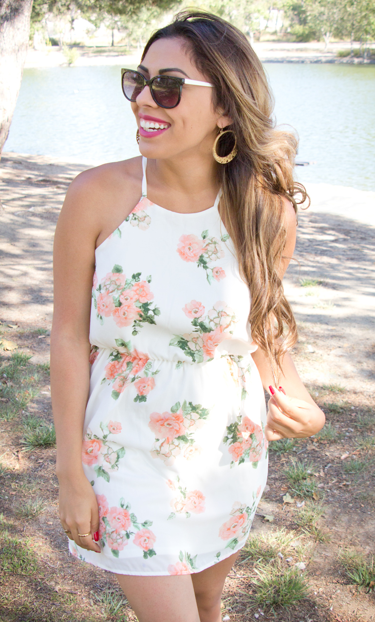 A Candid Photo of Alexis Alcala Modeling a Floral Summer Dress at Yorba Regional Park for Her Blog