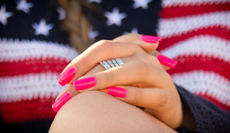 A Closeup of Alexis Alcala's Hot Pink Nails