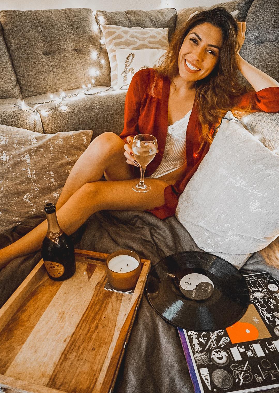 Alexis Alcala cozy night in with Santa Margherita wines