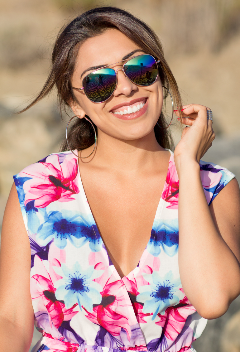 Alexis Alcala Smiling for a Photograph at the Beach in Dana Point, California