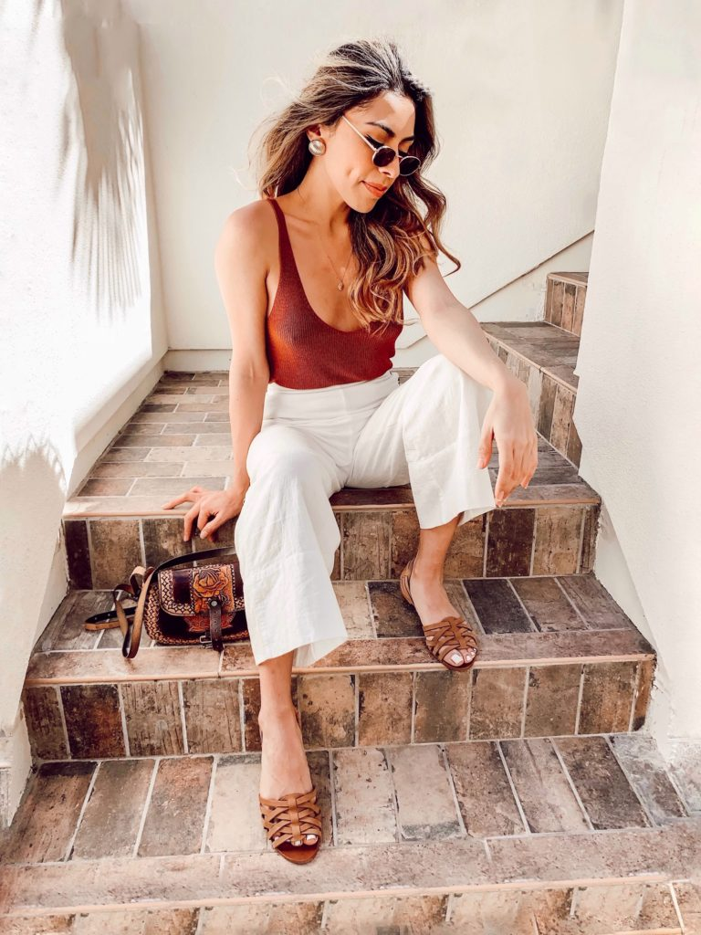 Lexi Alcala wearing White Culottes for spring and summer