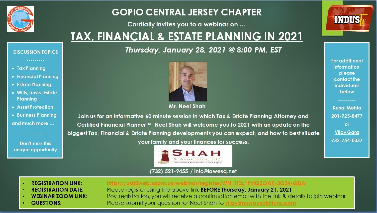 GOPIO – Tax, Financial & Estate Planning in 2021_012821