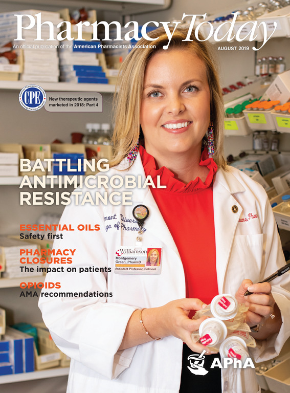 Montgomery-Green-ParmD-on-cover-of-August-2019-Pharmacy-Today-by-Weatherly-Photography