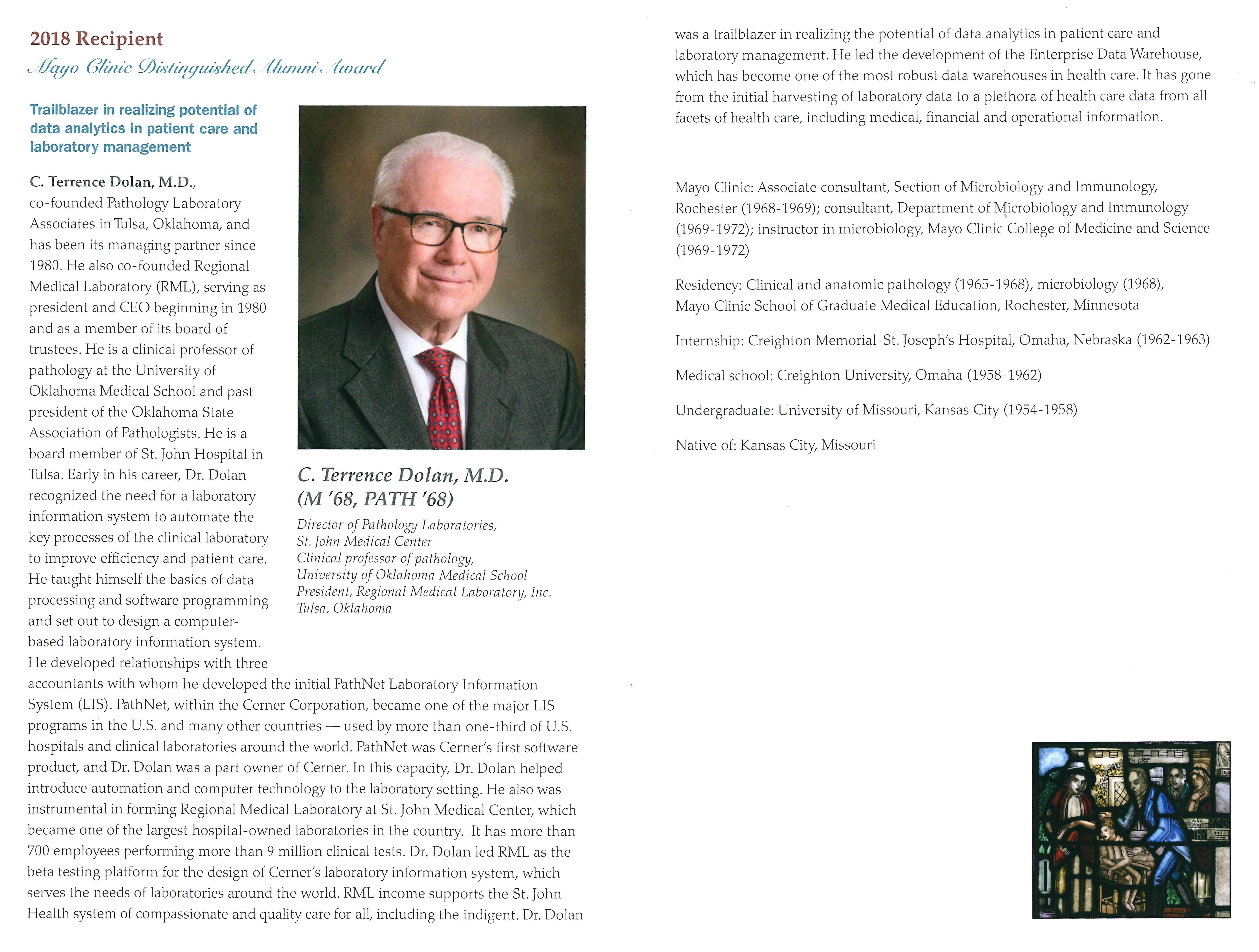 Mayo Clinic honors parishioner Dr  C  Terrence Dolan