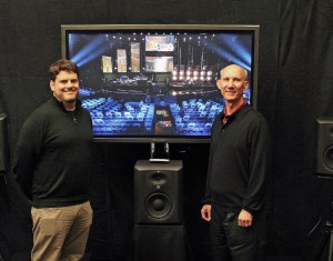 (Left) Bryan Bradley, Vice President, General Manager of the HARMAN Professional Loudspeaker Business Unit and (right) Mark Ureda,Vice President, Strategy and Technology, HARMAN Professional, in the Television Committee Room at the GRAMMY Awards.