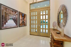 Cream colored doors with glass inserts