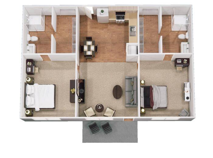 Floor Plan for Hefner Mansions Senior Independent Living Apartment 1,060 sq ft