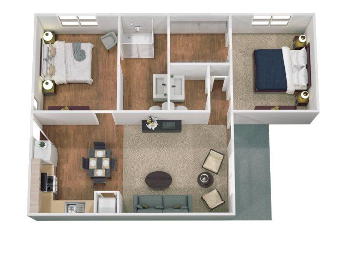 Floor Plan for Southwest Mansions Senior Independent Living Apartment 1070 Sq ft