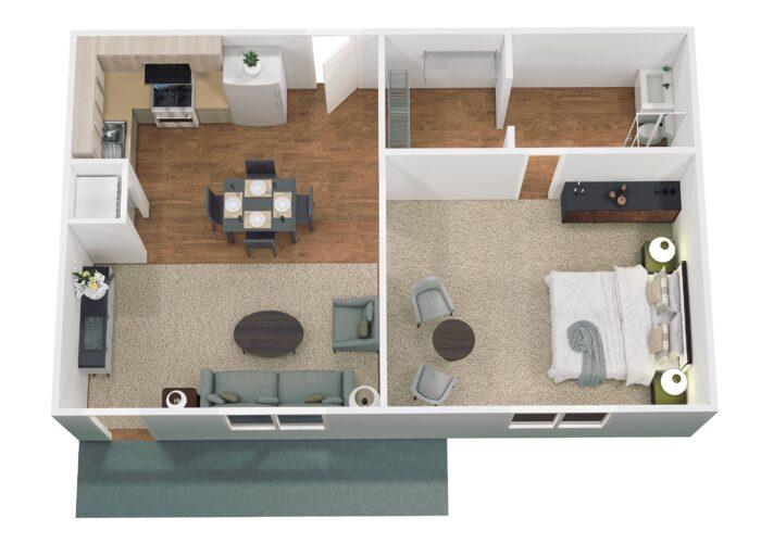 Floor Plan SW 725 sq ft
