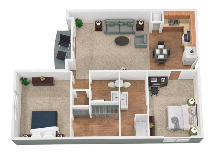 Floor Plan for The Mansions at Decatur Senior Independent Living Apartment 1080 sq ft