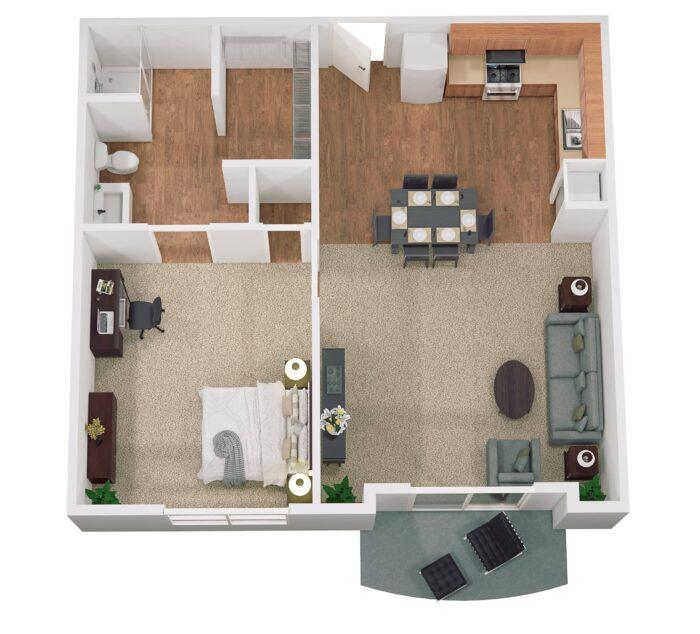 Decatur floor plan 725 sq ft