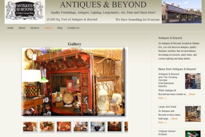 Antiques & Beyond online site with a gallery