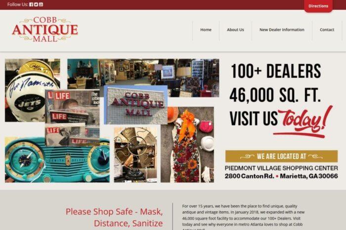 Cobb Antique Mall website homepage