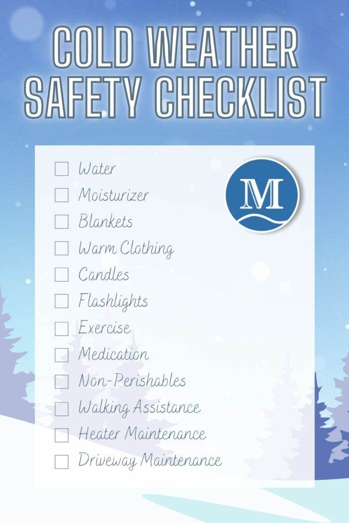 Cold Weather Safety Checklist poster for printing and posting on a fridge