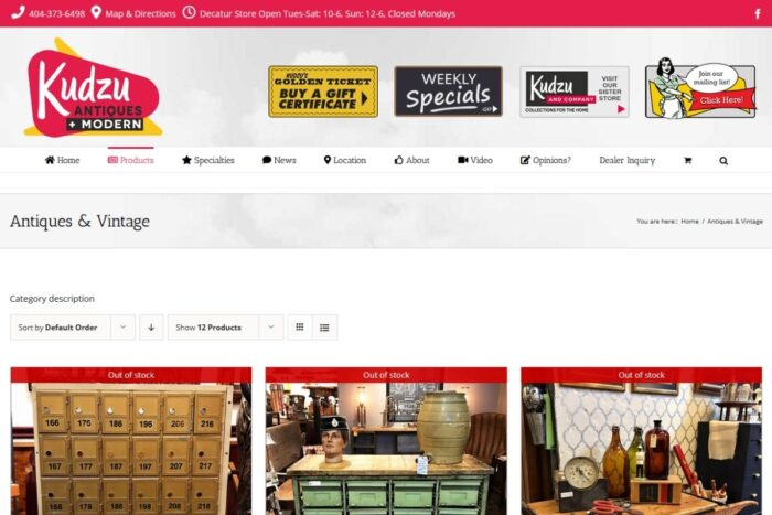 Kudzu Antiques website showing what products they carry