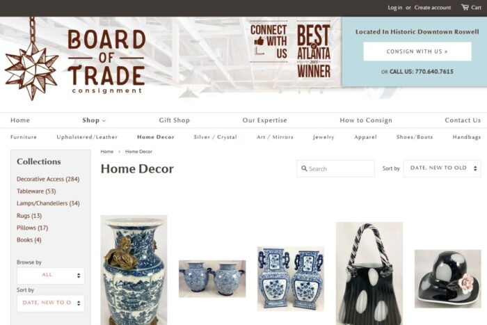 The Board of Trade Consignment website selling antiques