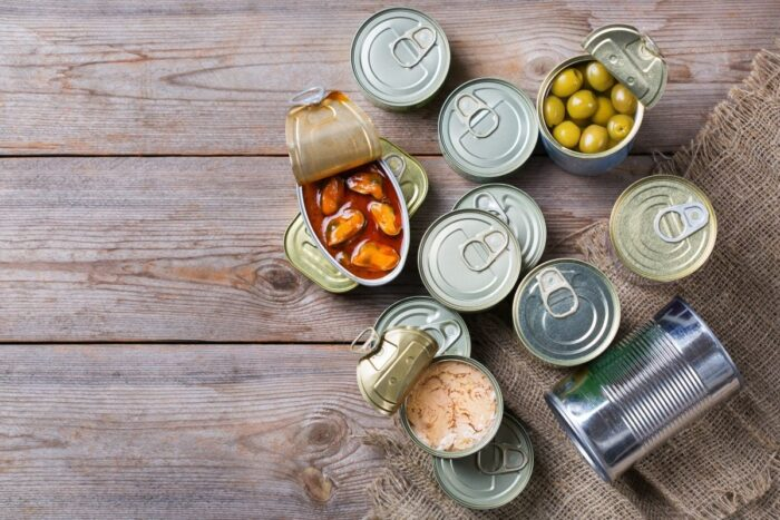 Assortment of canned, non-perishable foods