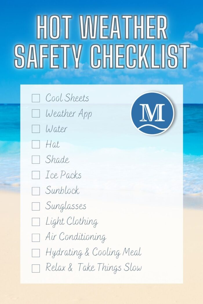 Hot weather safety checklist printable for your fridge