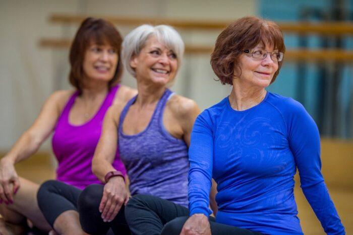Seniors exercising indoors