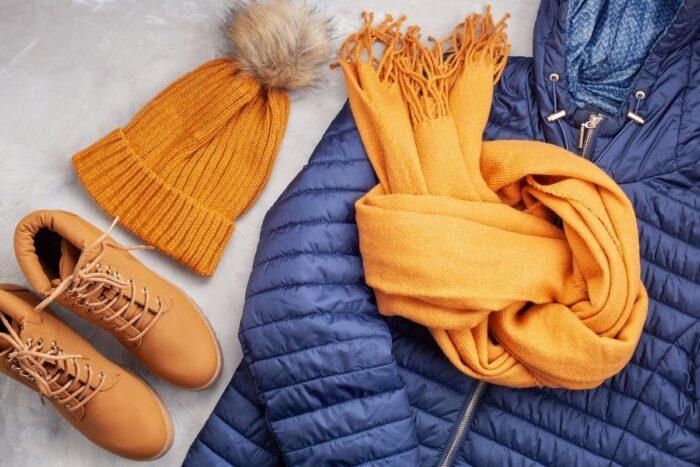 Winter clothing flatlay