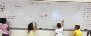 4 students at the whiteboard, writing questions actitvity