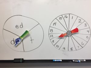 students spin and write past verbs that end in ED