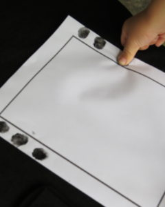 three thumb prints to turn into spiders