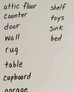 list of words for the spiders rhyme