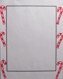 draw small candy canes using red marker