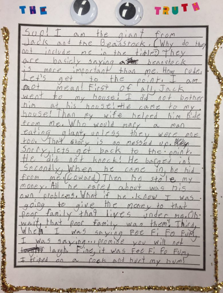 Child's sample fairy tale, jack and the beanstalk writing prompt, the giant's perspective