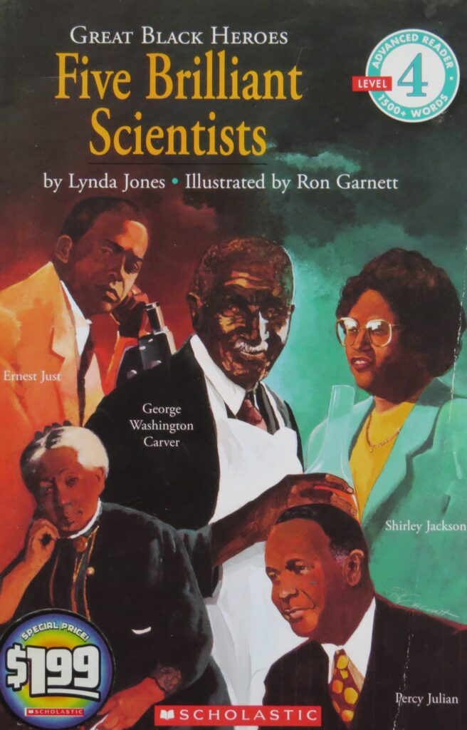 """African-Americans picture of the book titled, """"Five Brilliant Scientists."""""""