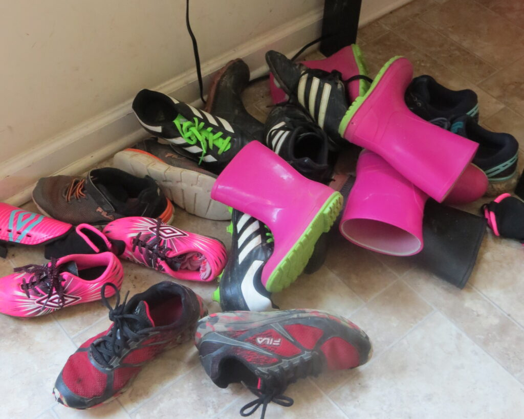 Piles a shoes, we need to build a 4 tier shelf!