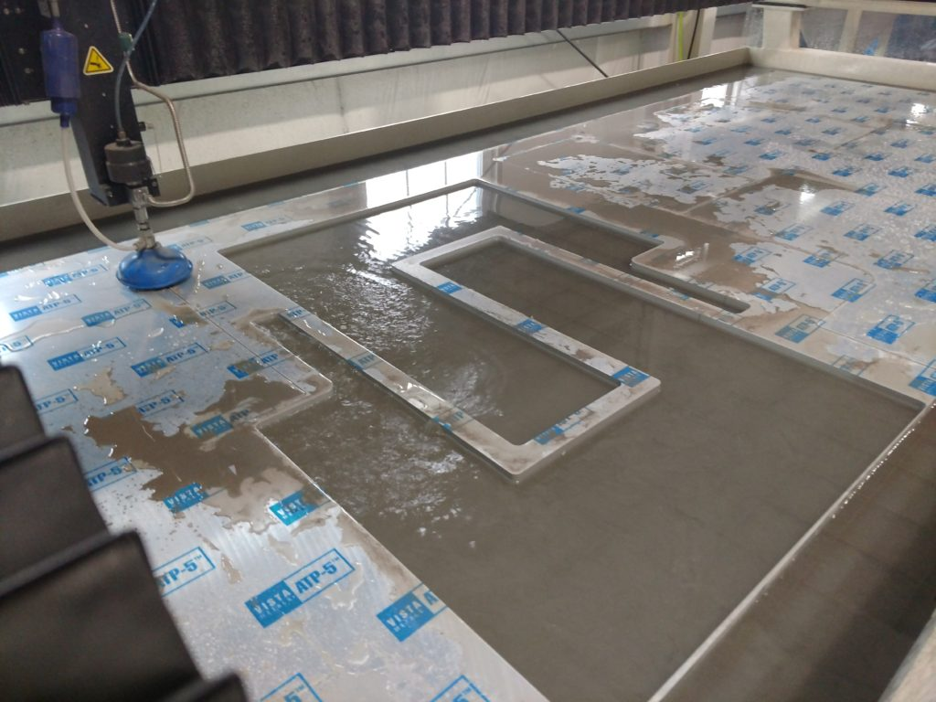Watejet cutting with a large 60X110in bed