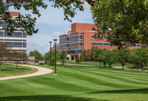 Office buildings in a large campus setting.