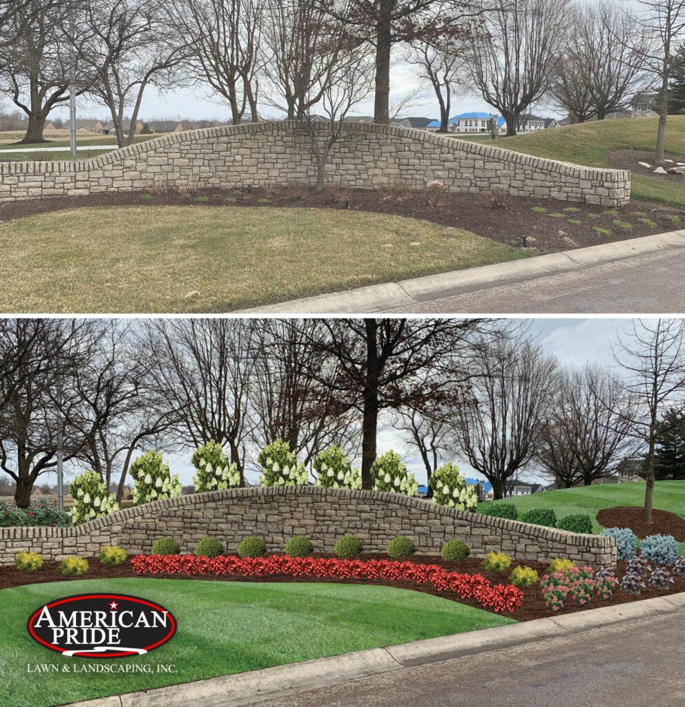 landscape before digital enhancement depicting a landscape renovation plan and after it's been applied