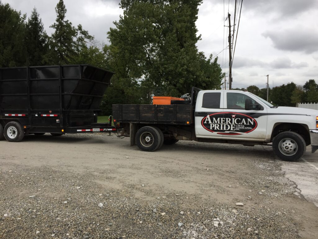 landscaping truck on site of a landscaping job