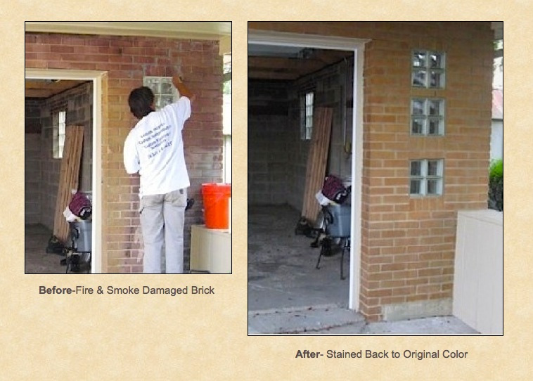Fire damaged brick restained