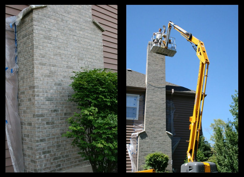 Wheaton Chimney Exterior Brick Color Staining Makeover