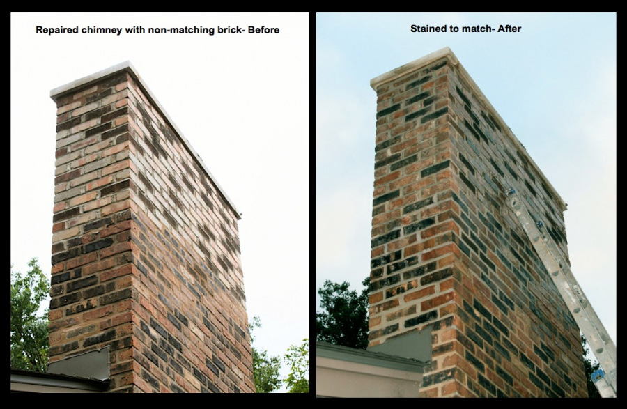 Matching and staining new brick to the existing brick colors.