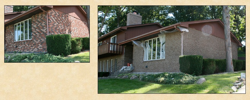 Exterior Brick Staining Project in Valparaiso, Indiana.