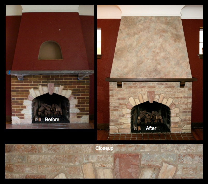 Stained brick and stone fireplace and faux finished wall above.