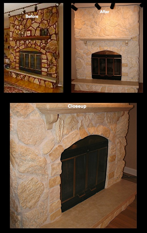 Fireplace Stone stained to lighter shades of off whites, light golds, and khaki colors.
