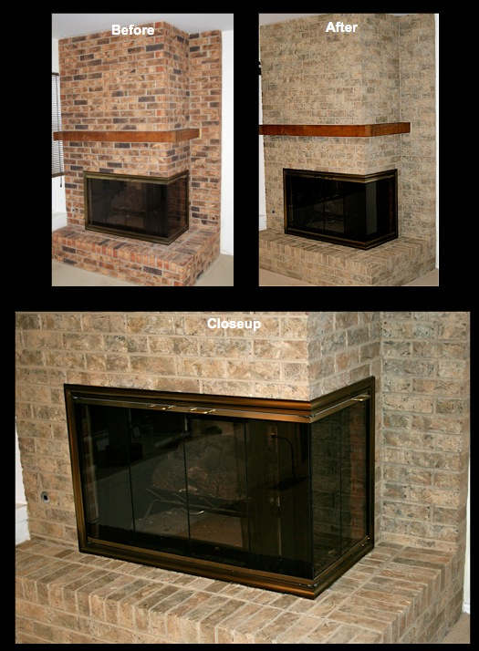 Fireplace brick was transformed using shades of siennas, khakis and mosses.