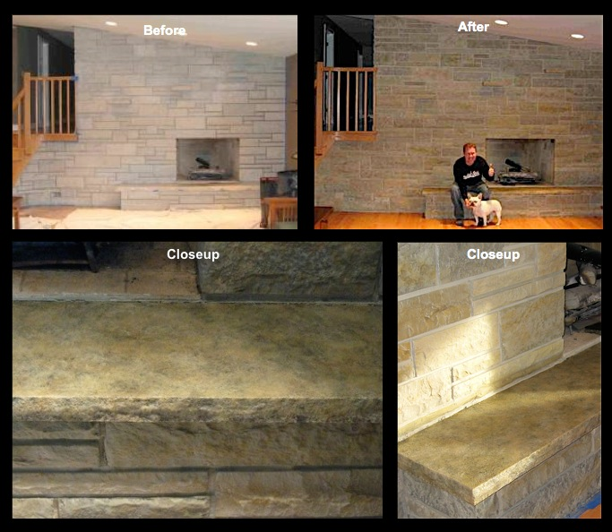 Fireplace Stone and limestone hearth refinished to shades of earthy, natural looking stone colors.