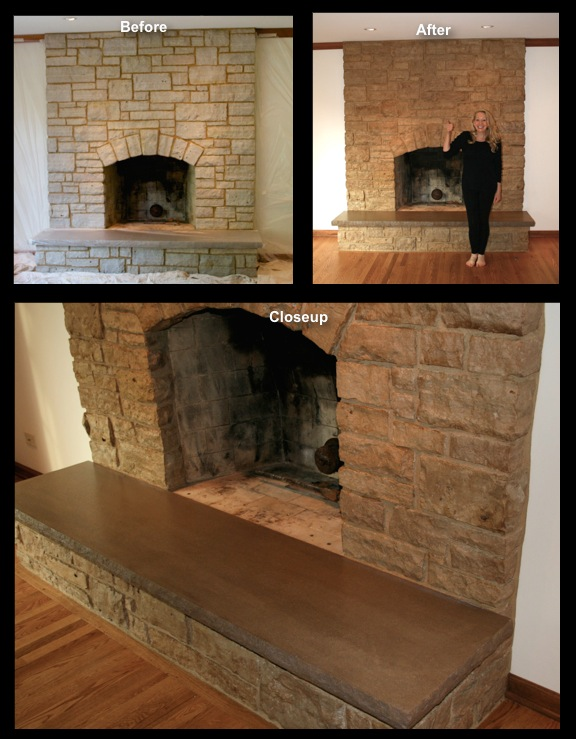 Stained and refinished stone fireplace and limestone hearth.