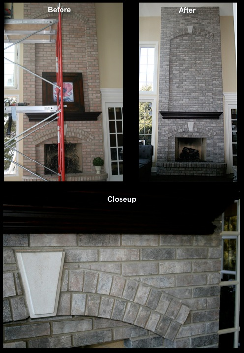 Refinished two story fireplace brick fireplace in St. Charles, IL.