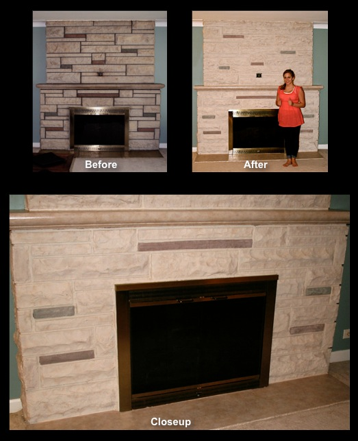 Stone Fireplace, hearth and mantel ledge stained to a modern look.