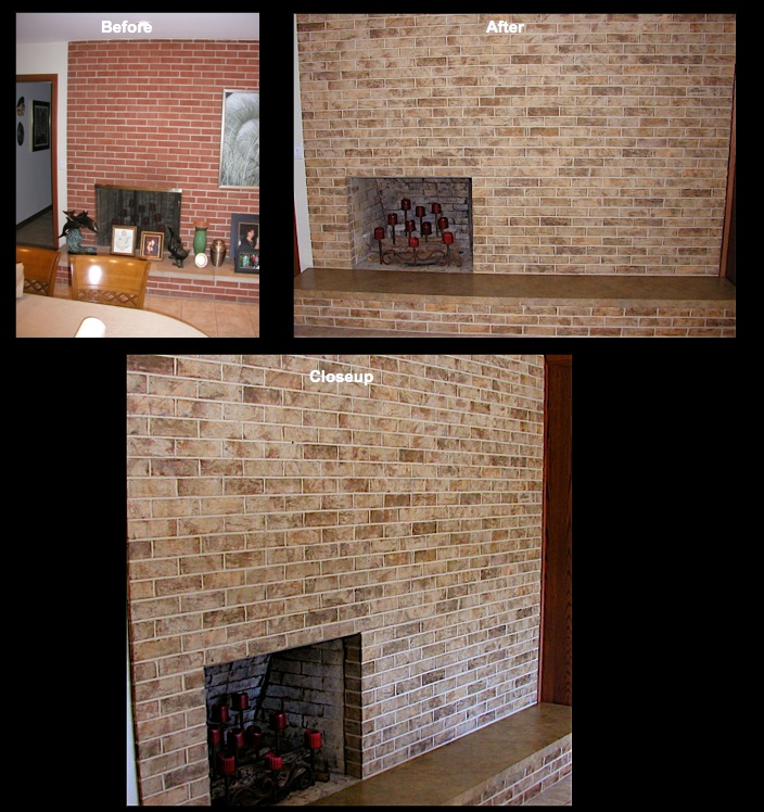 Stained fireplace brick and hearth.