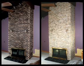 Two story fireplace brick and mortar in Kankakee, IL  was stained to shades of off whites, tans and grays,  Group C