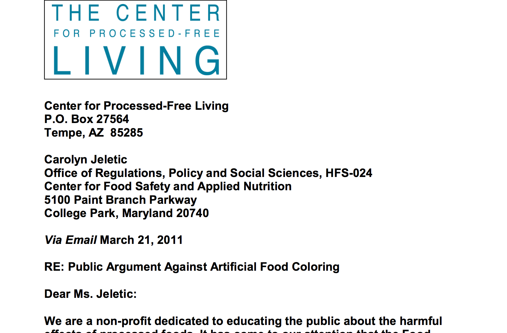 Center Submits Arguments Against Artificial Food Coloring